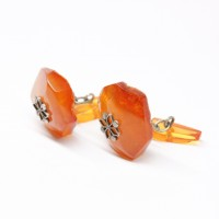 Genuine Vintage Russian Soviet Union Egg Yolk Butterscotch Baltic Amber Cufflinks 104