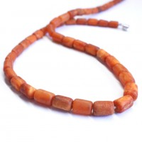 Vintage Barrel Shape Unpolished Baltic Amber Beads Necklace Butterscotch 14.2g  47 cm (18.50 in)