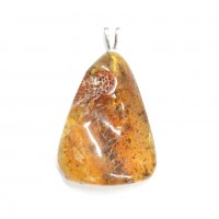 Baltic Amber Pendant Light Green Shade Color With Plants Inclusions ST Silver Hook