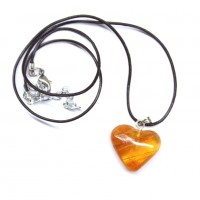 Honey Color Baltic Amber Heart Shaped Pendant 34