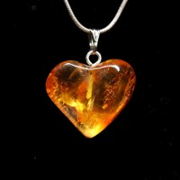 Honey Color Baltic Amber Heart Shaped Pendant 37