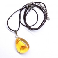 Baltic Amber Pendant Lemon Color With Leather String