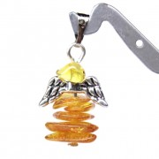 "Polished Chips Style Baltic Amber Pendant Honey Color ""GUARDIAN ANGEL"""