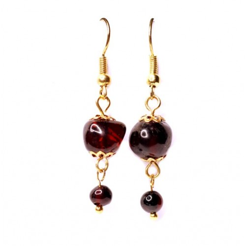 Gold Color Dangle Earrings With Cherry Baltic Amber