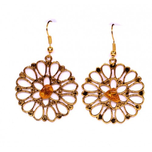 Gold Color Dangle Earrings With Honey Baltic Amber