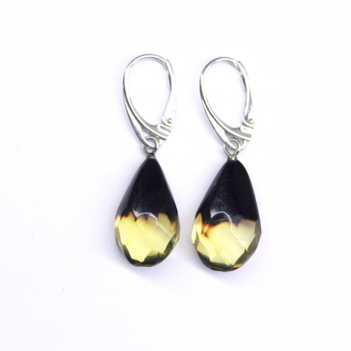 Exclusive Baltic Amber Earrings Cherry / Lemon Color Sterling Silver 925