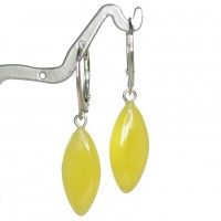 Drop Shape Baltic Amber Earrings Butter Color Drop Shape Sterling 925 Silver