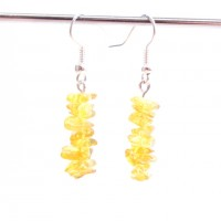 Polished Lemon Baltic Amber Nuggets Dangle Earrings 3