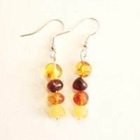 Polished Baroque Style Multicolor Baltic Amber Dangle Earrings