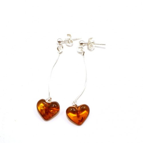 Sterling Silver 925 Heart Shaped Multi color Baltic Amber Dangle Earrings