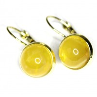 Gold Color Dangle Earrings With Lemon Color Baltic Amber