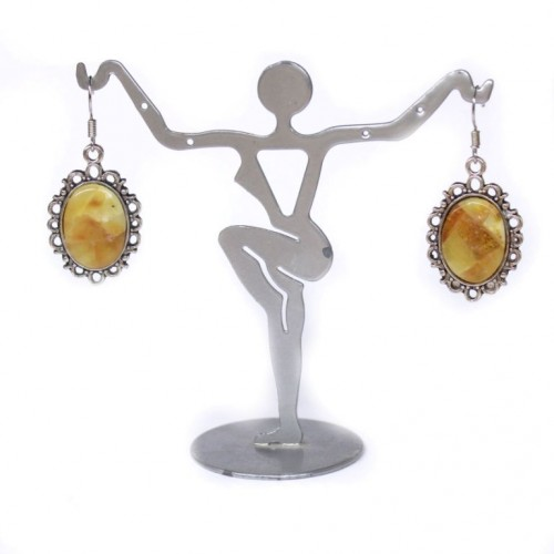 """Vintage Style Oval Shape Earrings With Butter Color Baltic Amber """"Mosaic"""""""