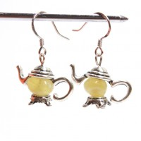 Tibetan Silver Teapot With Milky ROYAL Baltic Amber Beads Sterling 925 hooks