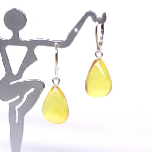 Natural Baltic Amber Earrings Honey Drops Faceted Beads Sterling Silver 925