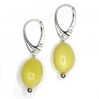 Olive Shape Baltic Amber Earrings Butter Color Drop Shape Sterling 925 Silver