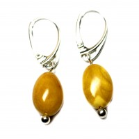 Vintage Olive Shape Baltic Amber Earrings Butterscotch / Egg Yolk Color Drop Shape Sterling 925 Silver