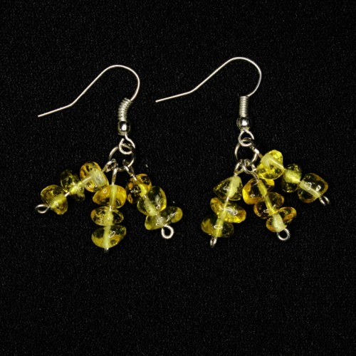 Lemon Color Polished Baltic amber dangle earrings