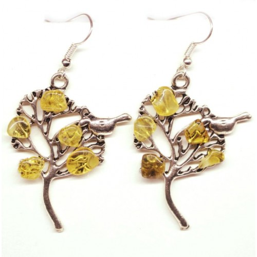 "Earrings With Honey Color Baltic Amber ""Tree With Bird"""