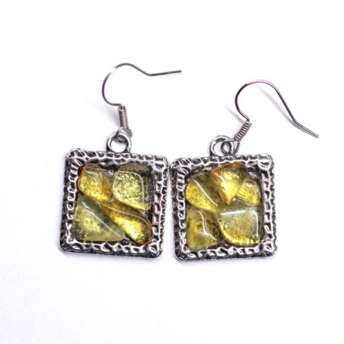 Silver Color Earrings With Lemon Color Baltic Amber Pieces