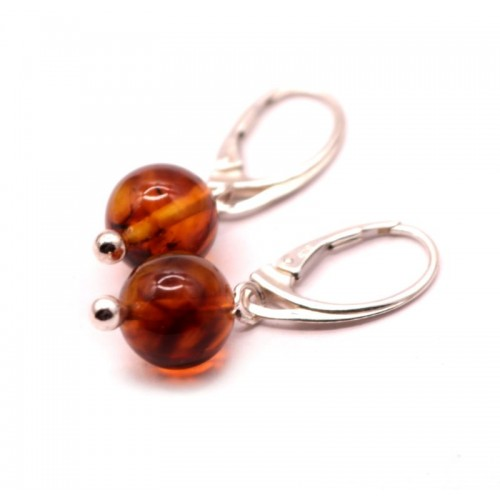 Cognac Color Pressed Baltic Amber Earrings Sterling Silver 925