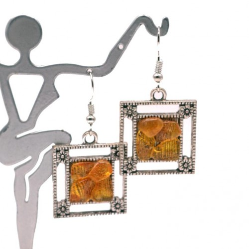 Silver Color Earrings With Honey Color Baltic Amber Pieces
