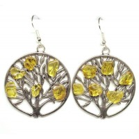 "Round Earrings With Honey Color Baltic Amber ""Autumn Tree"""