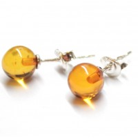 Honey Baltic Aamber 925 Sterling Silver Stud Earrings