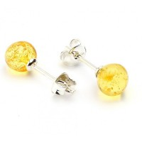 Lemon Color Baltic Amber Stud Earrings Sterling Silver 925