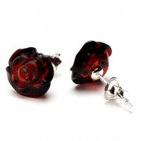 "Baltic Amber Dark Cognac Color 925 Sterling Silver Stud Earrings ""ROSE"""