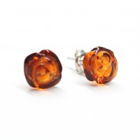 "Baltic Amber Cognac Color 925 Sterling Silver Stud Earrings ""ROSE"""