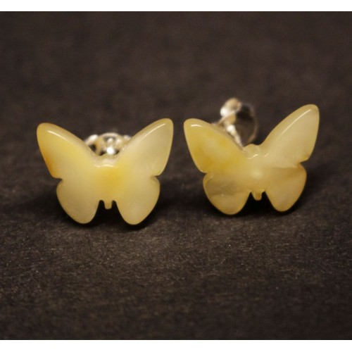 """Baltic Amber Royal Milky Color 925 Sterling Silver Stud Earrings """"Butterfly"""""""