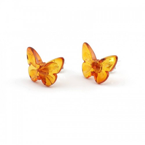 "Baltic Amber Cognac Color 925 Sterling Silver Stud Earrings ""Butterfly"""