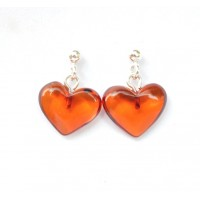 Heart Shape Baltic Amber Earrings Studs Light Cognac Color Sterling Silver 925 1 g