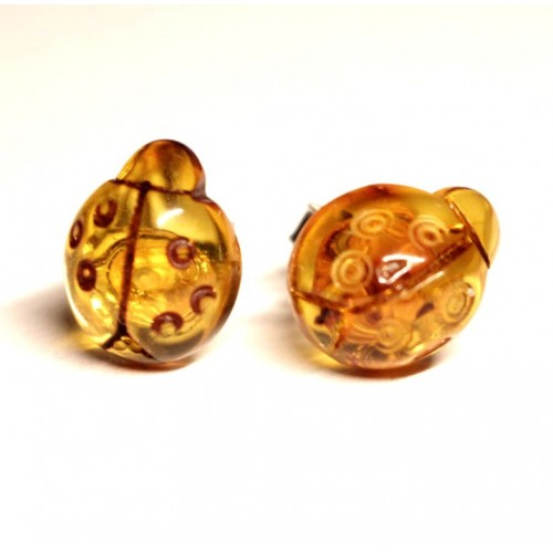 "Baltic Amber Cognac Color 925 Sterling Silver Stud Earrings ""Ladybug"""