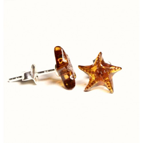 """Cognac Color Baltic Amber 925 Sterling Silver Stud Earrings """"Starfish"""""""