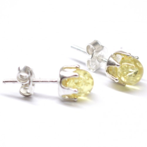 Lemon Color Baltic Aamber Stud Earrings Silver Plated