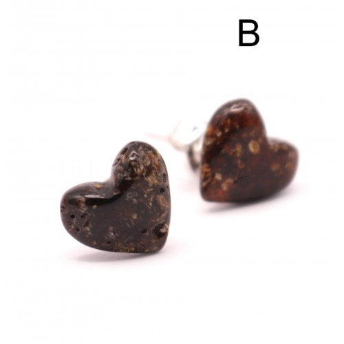 Heart Shape Baltic Amber Earrings Studs Greenish Color Sterling Silver 925