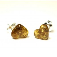 Heart Shape Baltic Amber Earrings Studs Light Green Color Sterling Silver 925