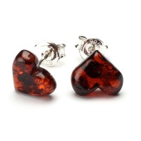 Heart Shape Baltic Amber Earrings Studs Dark Cognac Color Sterling Silver 925