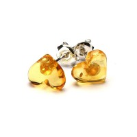 Heart Shape Baltic Amber Earrings Studs Lemon Color Sterling Silver 925 1 g