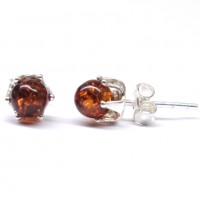 Cognac Color Baltic Aamber Stud Earrings Silver Plated