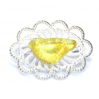 Silver Color Brooch / Pin With Lemon Color Baltic Amber