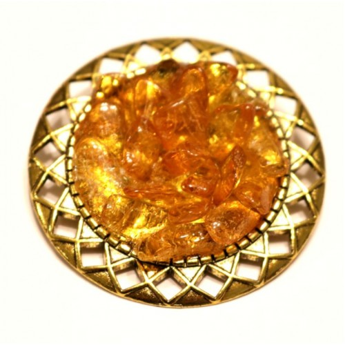 Gold Color Brooch / Pin With Multi Color Baltic Amber Pieces