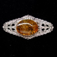 Silver Color Brooch / Pin With Green Shade Color Baltic Amber