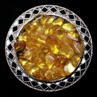 Silver Color Brooch / Pin With Multi Color Baltic Amber Pieces