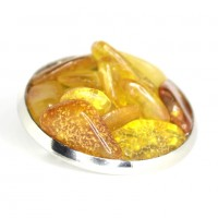 Silver / Gold Color Brooch / Pin With Multi Color Baltic Amber Pieces