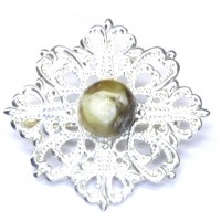 Silver Color Brooch / Pin With Baltic Amber