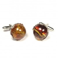 Silver Color Cufflinks With Lemon Baltic Amber