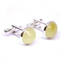 Silver Color Cuff-links With Butter Baltic Amber