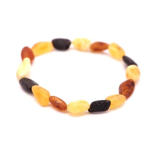 Unpolished Bean Style Multi-color Baltic Amber Adult Bracelet